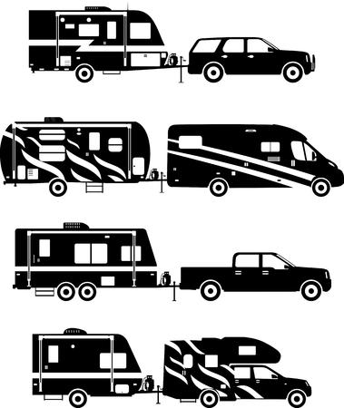 caravans: Silhouette illustration of travel trailer caravans on a white background.