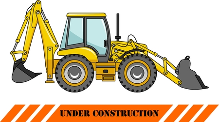 heavy equipment: Detailed illustration of backhoe loader, heavy equipment and machinery