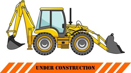 Illustration détaillée de tractopelle, équipements lourds et machines
