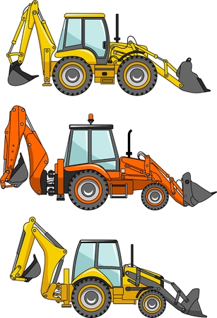 mining: Detailed illustration of backhoe loaders, heavy equipment and machinery Illustration