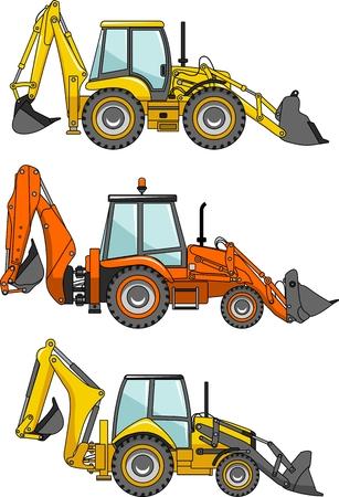 heavy equipment: Detailed illustration of backhoe loaders, heavy equipment and machinery Illustration