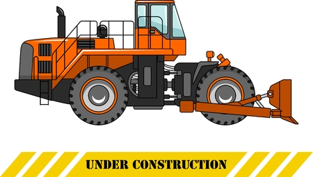 dozer: Detailed illustration of wheel dozer, heavy equipment and machinery