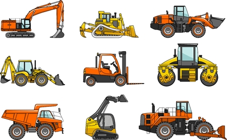 compactor: Detailed illustration of heavy equipment and machinery in a flat style Illustration