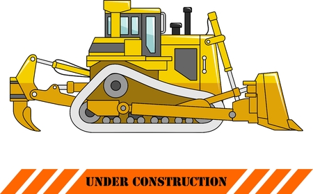 dozer: Detailed illustration of dozer, heavy equipment and machinery in a flat style.