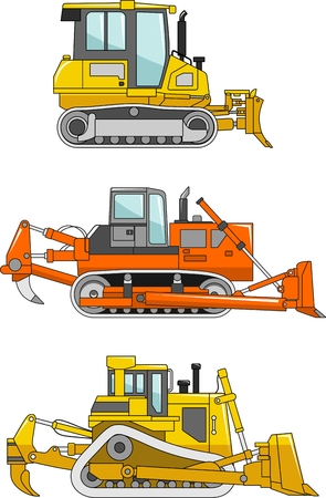 yellow tractors: Detailed illustration of dozers, heavy equipment and machinery in a flat style.
