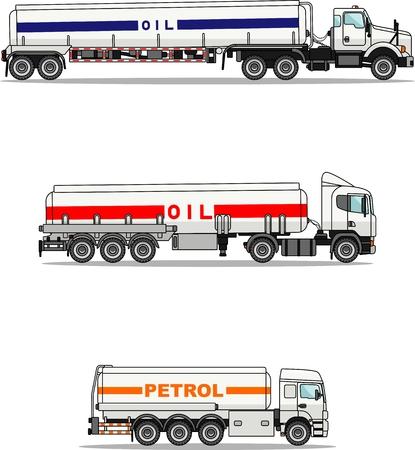 Gedetailleerde illustratie drie varianten van benzinevrachtwagens in een vlakke stijl.