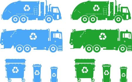 ごみ収集車と白い背景に分離されたゴミ箱のシルエット イラスト