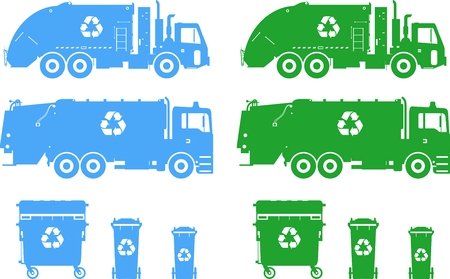 Ilustracja sylwetka śmieciarek i dumpsters na białym tle