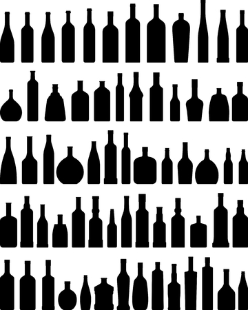 Vector collection silhouette illustration of bottles on a white background.