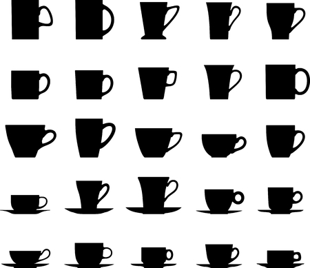 black coffee: Vector collection silhouette illustration of tea cups on a white background. Illustration