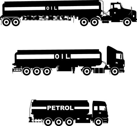 Silhouet illustratie drie varianten van benzine vrachtwagens op een witte achtergrond. Vector Illustratie