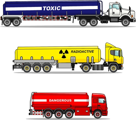 substances: Detailed illustration of cistern trucks carrying chemical, radioactive, toxic, hazardous substances in flat style.