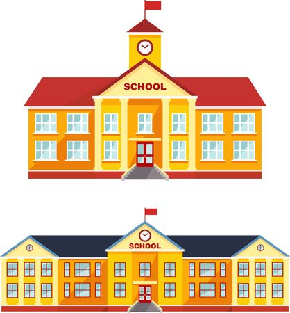 Detailed illustration different variants of classical school building in a flat style. Stock Illustratie