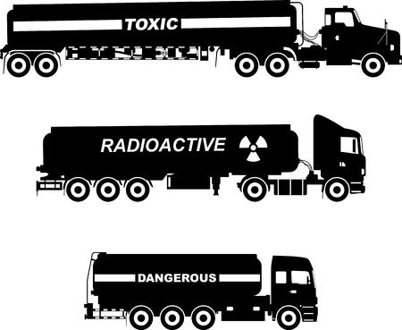 cisterna: Ilustraci�n de la silueta de camiones cisterna que transportan qu�micos, sustancias radioactivas, t�xicas, peligrosas en el fondo blanco.