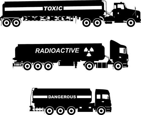 substances: Silhouette illustration of cistern trucks carrying chemical, radioactive, toxic, hazardous substances on white background. Illustration