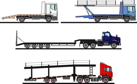 semitrailer: Detailed illustration of different car auto transporters on white background in flat style.