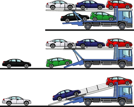 Detailed illustration of car auto transporters on white background in flat style in different positions.