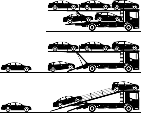 semitrailer: Silhouette illustration of car auto transporters on white background in flat style in different positions.