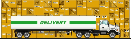 semitrailer: Truck on the boxes background in flat style. Illustration