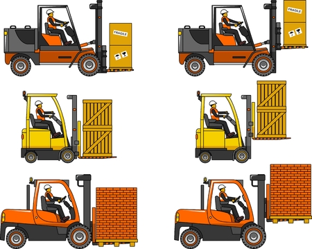 Detailed illustration of forklifts, heavy equipment and machinery