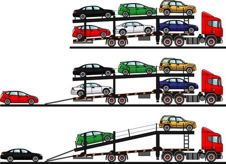 semitrailer: Detailed illustration of cars loading on auto transporters.