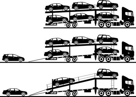 Silhouette Illustration von Auto Autotransporter auf weißem Hintergrund in flachen Stil in verschiedenen Positionen. Vektorgrafik