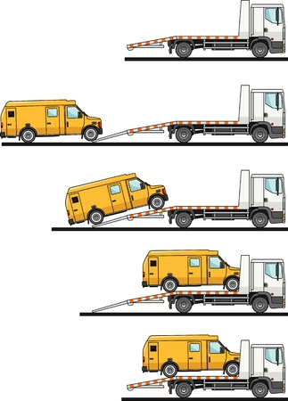transporter: Detailed illustration of car auto transporter and van on white background in flat style in different positions.