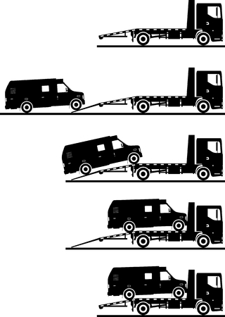 transporter: Silhouette illustration of car auto transporter and van on white background in different positions. Illustration