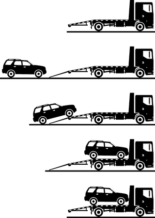 transporter: Silhouette illustration of auto transporter and car on white background in different positions. Illustration