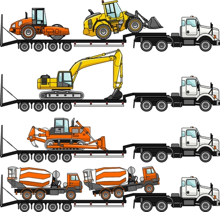 car loader: Detailed illustration of car auto transporter and concrete mixer, bulldozer, excavator, wheel loader, compactor on white background in flat style in different positions.