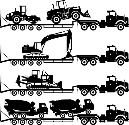 car loader: Silhouette illustration of car auto transporter and ?oncrete mixer, bulldozer, excavator, wheel loader, compactor on white background in different positions.