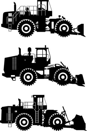 heavy equipment: Silhouette illustration of wheel dozers, heavy equipment and machinery on white background.