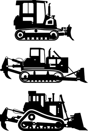construction dozer: Silhouette illustration of dozers, heavy equipment and machinery on white background. Illustration