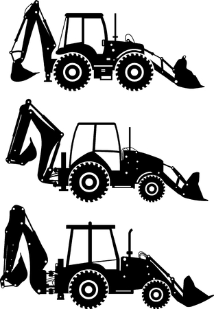 Silhouette illustration of backhoe loaders, heavy equipment and machinery on white background.