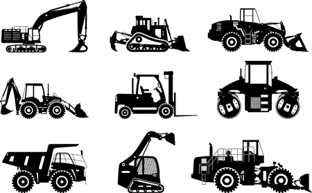 Silhouettes illustration of heavy equipment and machinery isolated on white background. Vetores