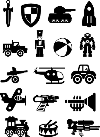 child rocket: Silhouette illustration different kind of toys for boys on white background. Vector illustration. Illustration