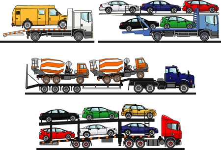 Detailed illustration of car auto transporters on white background in flat style.