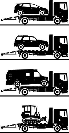 semitrailer: Silhouette illustration of car auto transporters on white background. Illustration