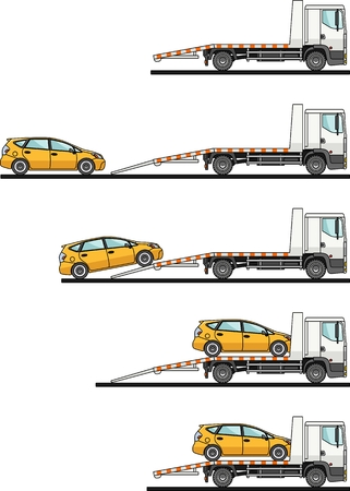 haul: Detailed illustration of auto transporter and car on white background in flat style in different positions.