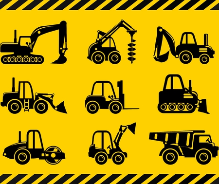 Verschiedene Arten von Spielzeug schwere Ausrüstung und Maschinen auf gelbem Hintergrund. Vektor-Illustration.