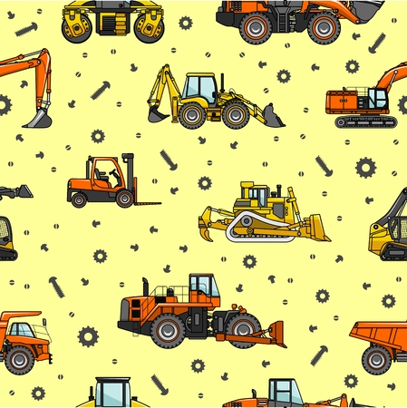off highway: Detailed seamless background with heavy equipment and machinery.