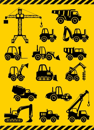 off highway: Different kind of toys heavy equipment and machinery isolated on yellow background.