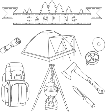 survival knife: Silhouette illustration different kind of camping equipment and objects on white background. Illustration
