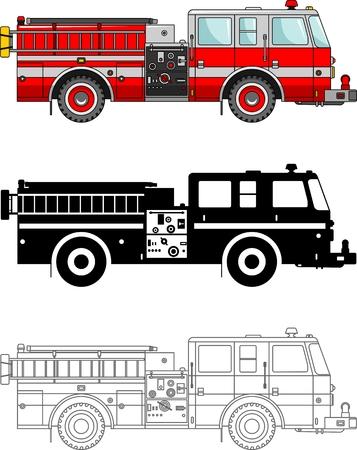 brandweer cartoon: Gedetailleerde illustratie van brandweerwagens op een witte achtergrond in een vlakke stijl.