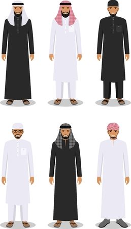 Detailed illustration of different standing arab men in the traditional national muslim arabic clothing isolated on white background in flat style. 矢量图像