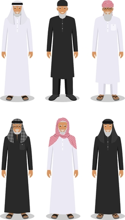 multy: Detailed illustration of different standing arab old men in the traditional national muslim arabic clothing isolated on white background in flat style.
