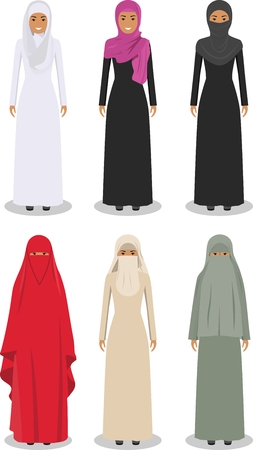 dresses: Detailed illustration of different standing arab women in the traditional national muslim arabic clothing isolated on white background in flat style.