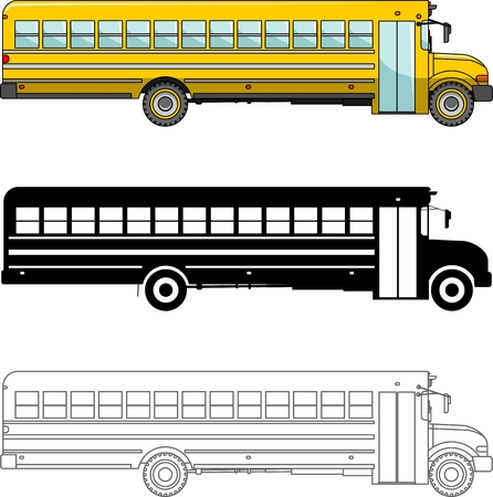 schoolbus: Detailed illustration of classic school bus isolated on white background in a flat style. Illustration