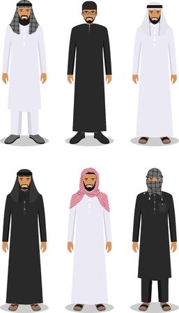 伝統的な国民イスラム教徒アラビア服フラット スタイルの白い背景で隔離の異なる立っているアラブ人の詳細なイラスト。