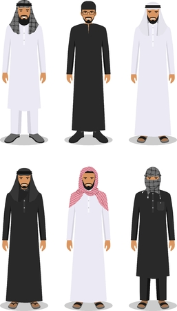 Detailed illustration of different standing arab men in the traditional national muslim arabic clothing isolated on white background in flat style. Stock Illustratie